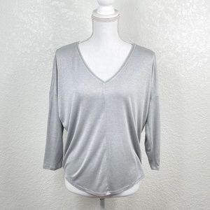 White House Black Market Grey Silver V-Neck 3/4 Sleeve Shrug Shoulder Blouse XS